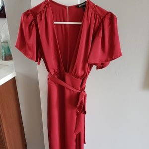 Express Deep V Red Wrap Dress - Make a Statement